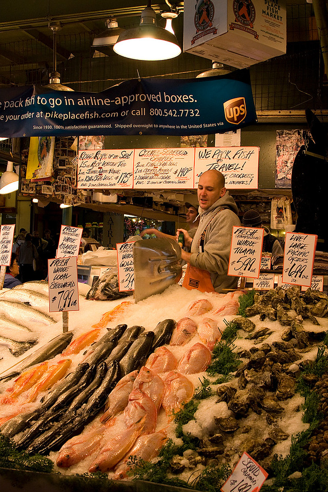 One of the market's major attractions is Pike Place Fish Market, where employees throw fish to each other rather than passing them by hand.