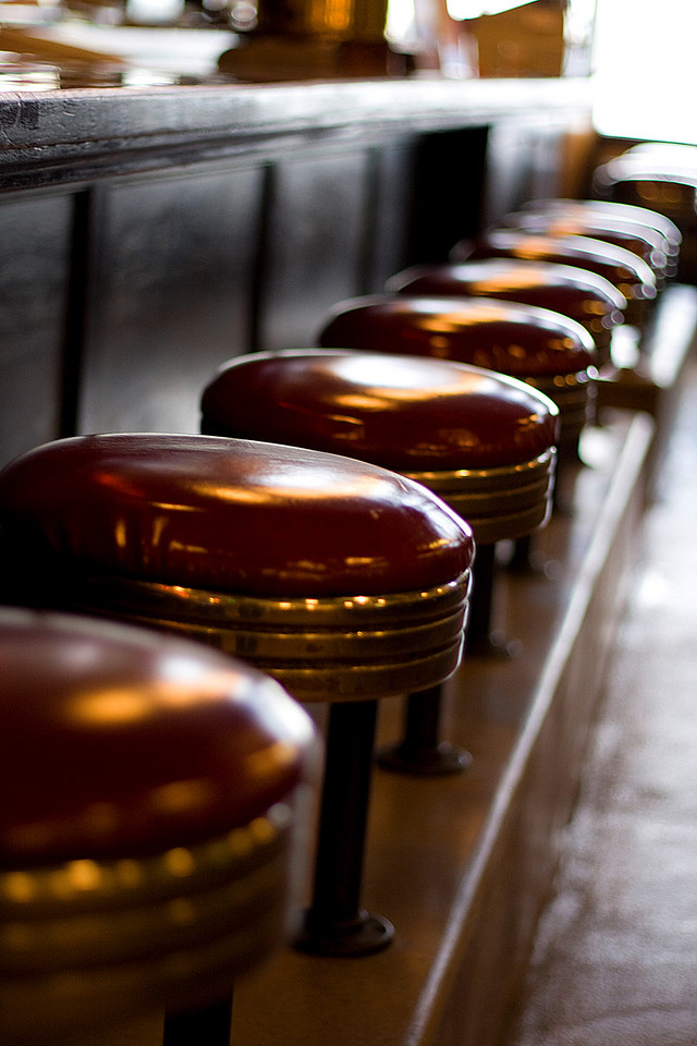 Barstools at the Athenian Seafood restaraunt
