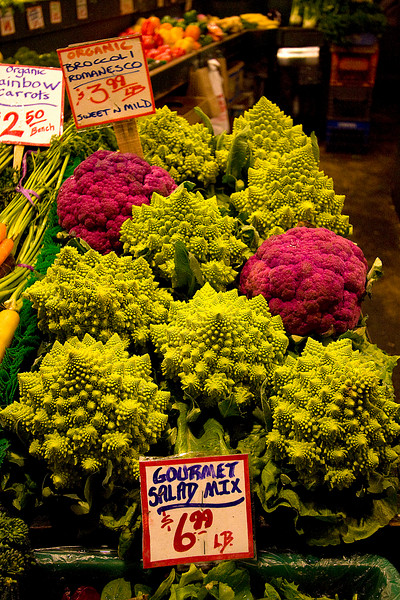 We had NEVER before seen this vegetable!  It is Romanesco broccoli.
