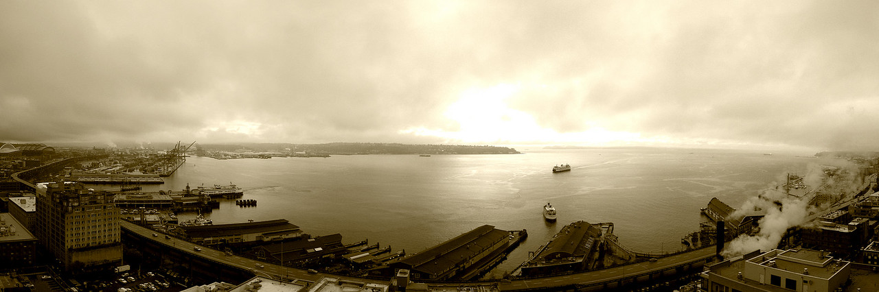 Panorama from our balcony of Puget Sound.  We created this by joining 5 separate photographs in Panorama Factory.