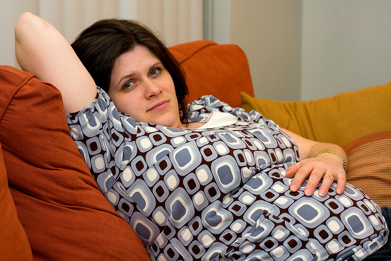 Pregnant Darcie relaxing in the hotel