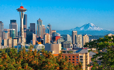 Seattle and Mount Ranier