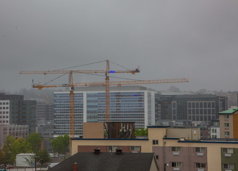 Building cranes for the forthcoming Amazon Headquarters buildings. <br /> Day view