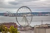 Seattle Great Wheel, 175 ft in diameter. It has41 eight passenger gondolas and extends out 40 into Elliott Bay beyind the end of its pier