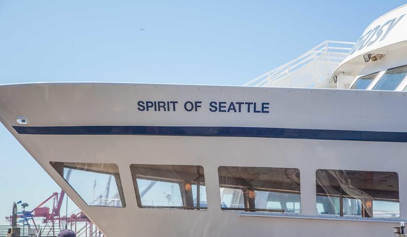 Boat tour of Elliott Bay, i.e., Seattle's harbor.