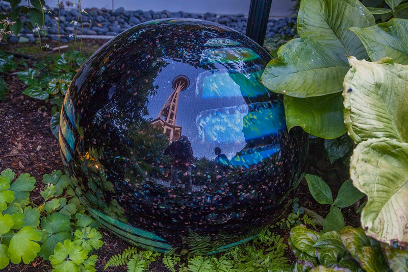 "A ""gazing ball"" in the Chihuly garden"