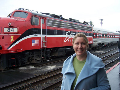 Holly loves trains.  And dinner.