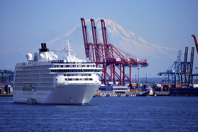 "Cruise ship ""The World"", Seattle waterfront"