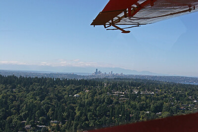Looking over Mercer Island at Seattle and the Olympics.