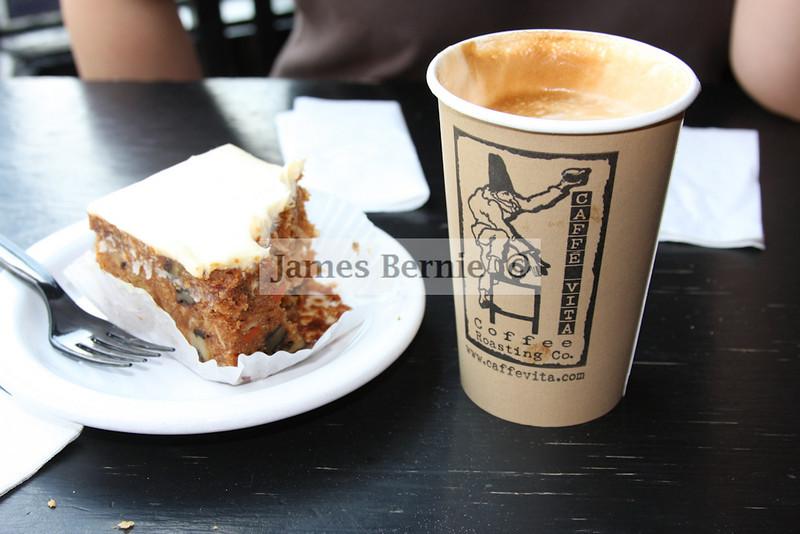 Coffe and carrot cake. MMmmm. Coffee. Seattle, WA, September 2008