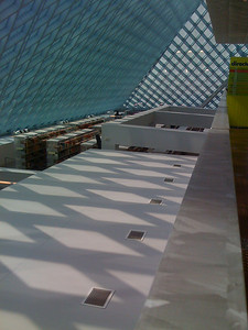 Late afternoon view of the north bookstacks from the top level at the Seattle Public Library