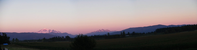 Mt. Baker (left) and Twin Sisters Range (right) as seen from the Strengholt back yard in Lynden, WA.