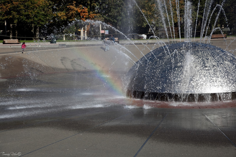 Rainbow in fountain, Seattle, USA