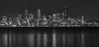 Seattle from Alki Point. City in black and white