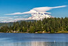 Mount Rainier lenticular clouds from Clear Lake in Pierce County.