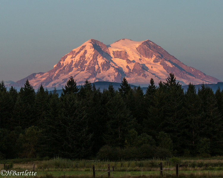 Mt. Rainier at sunset from Eatonville