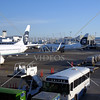 Airplane taxies at the airport in Seattle, Washington.