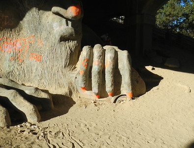Fremont Troll Holds a VW Bug
