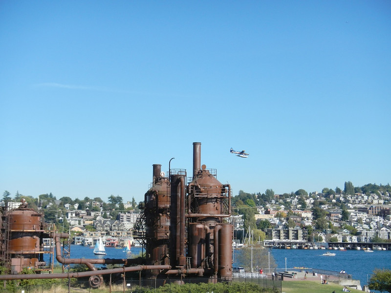 Float Plane Landing at the Gas Works