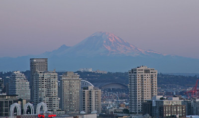 Rainier at Sunset and 90 Miles Away