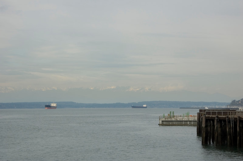 View of the waterfront area from outside the Seattle Aquarium.  Barely visible in the haze, the Olympic Mountain Range.