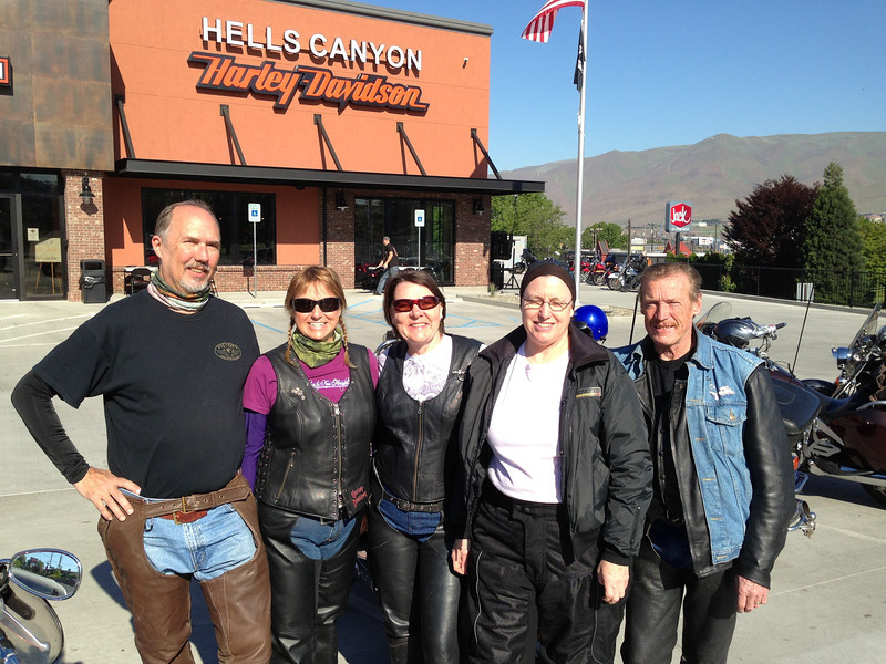 David, Korene, Linda, Jody and Gary, at Hells Canyon Harley, Lewiston, ID