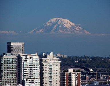Mt. Rainier floats over Seattle