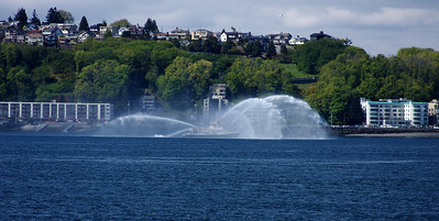 Seattle Fire boat off shore from West Seattle