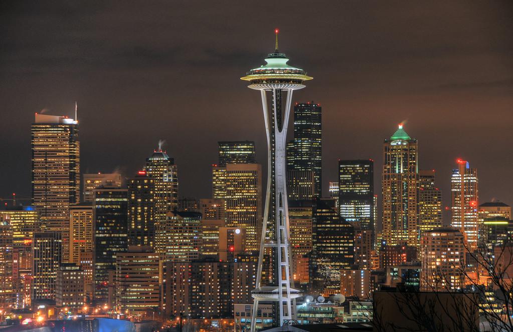 Seattle at night.