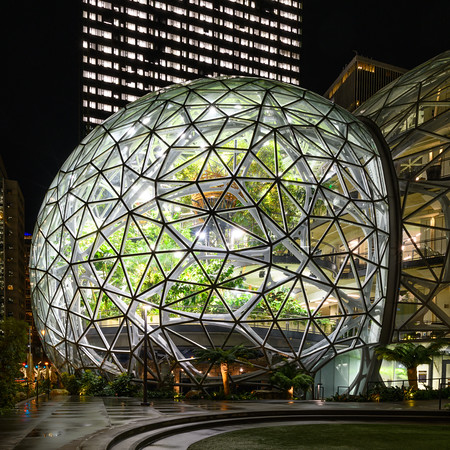 Amazon Spheres at night