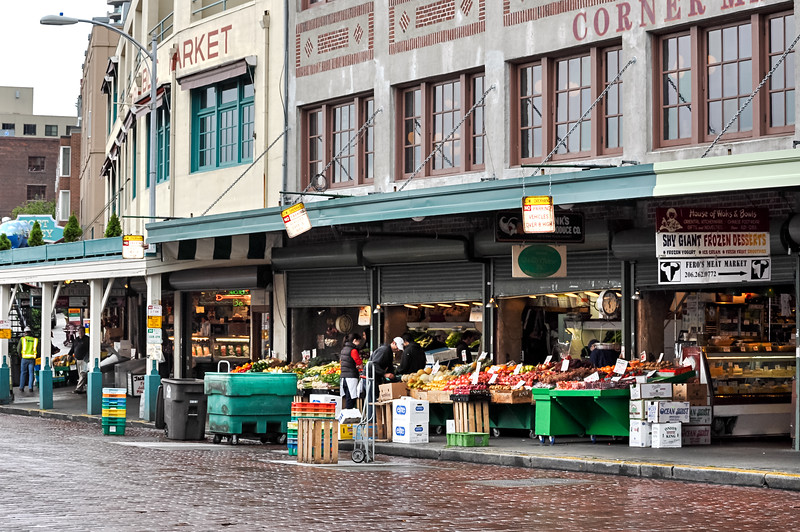 Corner Produce Market - a view of the Corner Produce Market in Seattle's Pike Place Market on a rainy day.