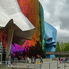 EMP Museum - A facade of Seattle's EMP Museum, designed by Frank Gerhy - Monorail in background.