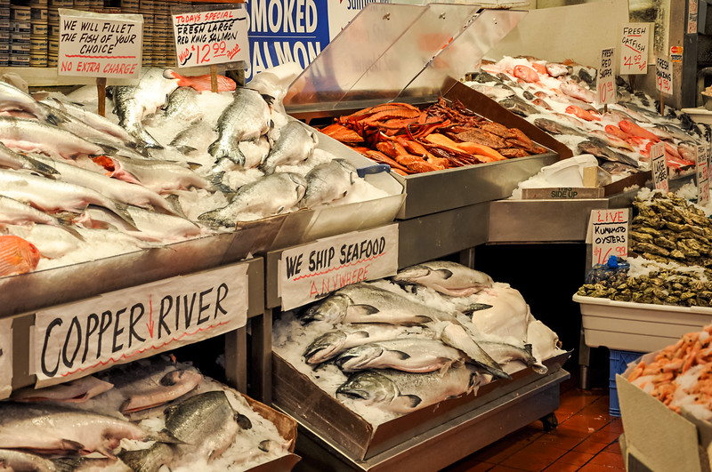 Salmon at City Fish Market - in Seattle's Pike Place Market.