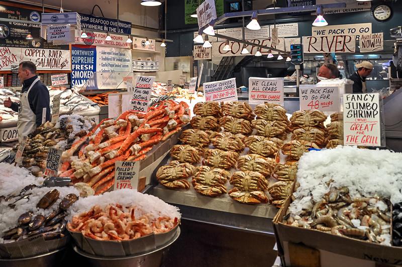 Seattle's City Fish Market - Crabs, shrimp and lobster at the City Fish Market in Seattle's Pike Place Market.