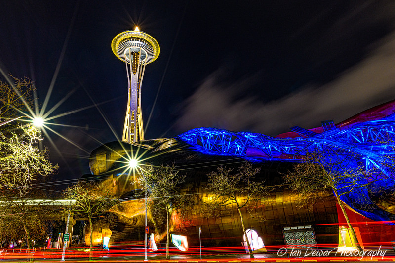 Night at Seattle's Space Needle and MoPOP