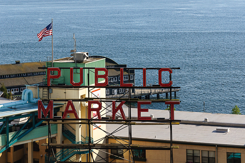 """""""Public Market"""" Sign in Seattle's Pike Place Market.  Elliot Bay is in the background."""