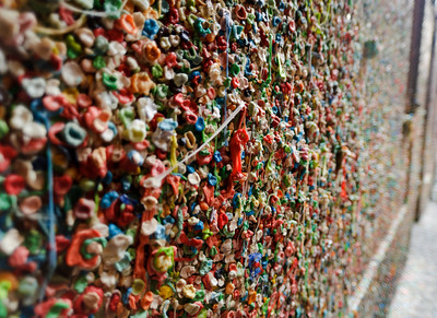 Wall of previously chewed gum -- http://en.wikipedia.org/wiki/Gum_Wall