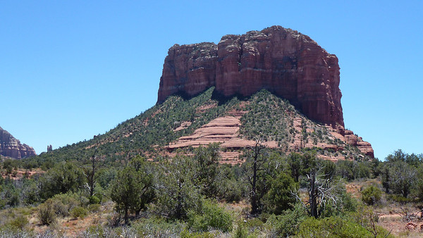 back view of Courthouse Butte