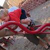 The boy loves to climb