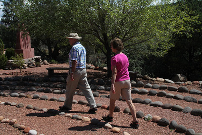 Edwin and Susan M walking the labyrinth