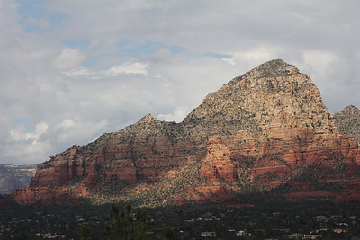 Lizard Head Rock #1 - the small peak in the middle - also knows as The Caravan - as viewed from our balcony.....Capitol Butte is the large peak on the right