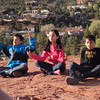 Kids in a vortex on a hilltop-Sedona, AZ