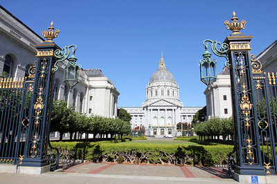 San Francisco City Hall on August 29th, 2011 as seen looking East from Fulton Street.  NOTE►These photos look best if you maximize your browser window to full screen.