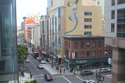 Standing in an upper level of the Hotel Nikko, 222 Mason Street, during a session break of the  Marijuana Conference. June 17th, 2011.  Looking toward the intersection of Ellis St. and Mason St.