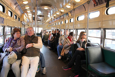 Interior of a street car heading east down Market Street, near 2nd Street, San Francisco. December 15th, 2011.