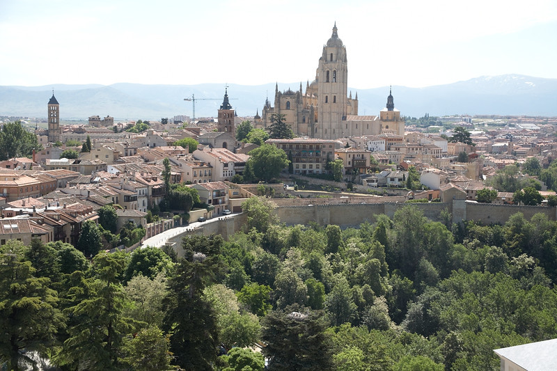 The cathedral looks to be the largest building visible from atop the castle.