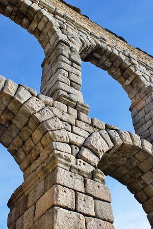 Roman aqueduct in Segovia, Spain.