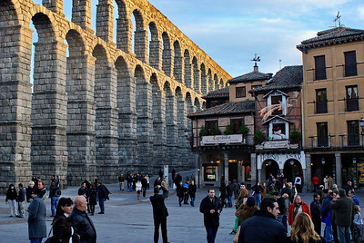 Sundown next to Segovia's Acueduct - Built by the Romans 2000+ years ago.