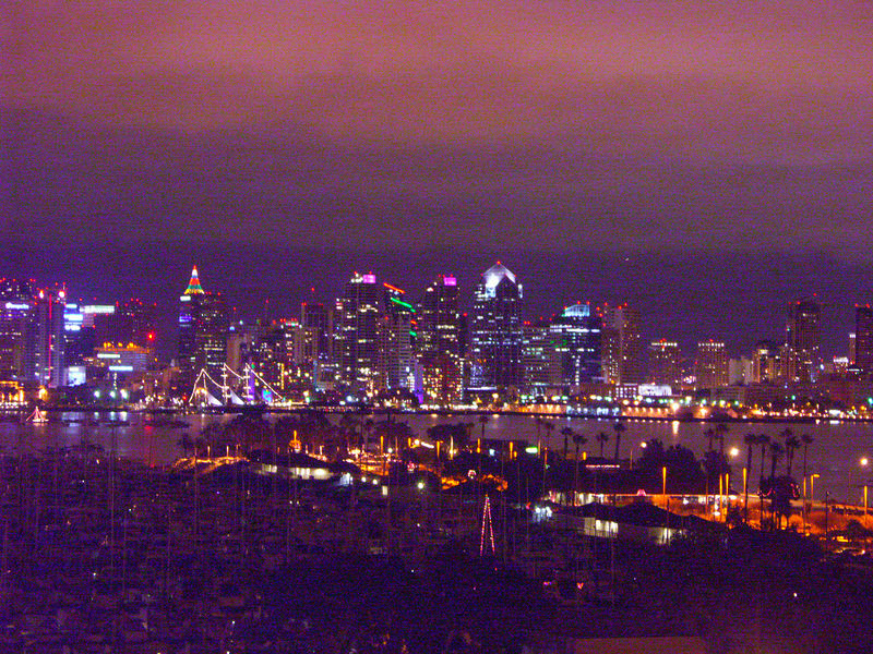 San Diego skyline from our balcony at night.