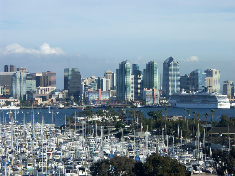 San Diego from our Sheraton Harbor Island Hotel and Marina balcony.